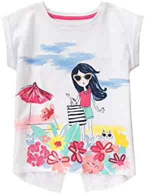 Gymboree Big Girls' Short Sleeve Beach White Graphic Tee