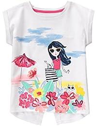 Gymboree Big Girls' Short Sleeve Beach White Graphic Tee
