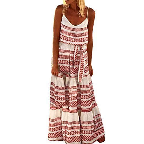 (Kulywon Women Plus Size Striped Spaghetti Strap Beach Dress Loose Sexy Maxi Dress Red)
