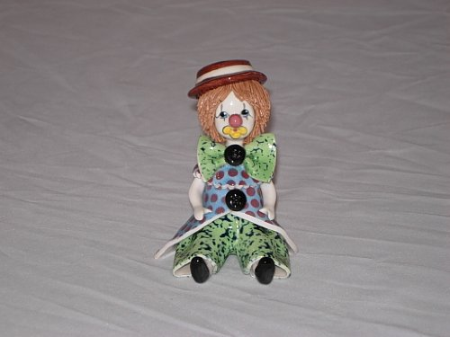 4 inch Clown with Green Bow Tie Authentic Hand Painted, used for sale  Delivered anywhere in USA