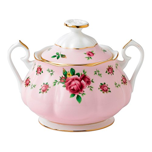 Royal Albert New Country Roses Pink Vintage Covered Sugar - Rose Sugar Bowl
