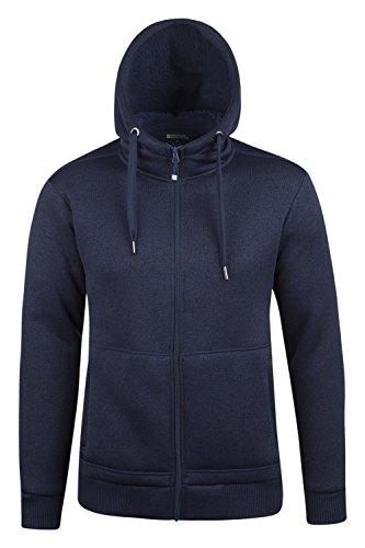 Mountain Warehouse Nevis Mens Fur Lined Hoodie - Fleece Sweatshirt Navy XXX-Large