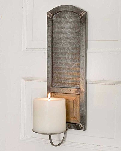 Rustic Metal Metal Washboard Pillar Candle - Candle Rustic Sconces
