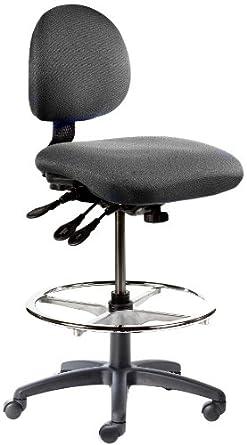 "BodyBilt J206 F1 Black Fabric Stool with 5.5"" Height Adjustment, 12"" Length x 14"" Width Backrest, Grade 3"