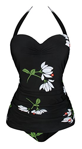 Angerella Vintage Halter Swimsuit Monokini One Piece Swimwear Bathing Suits