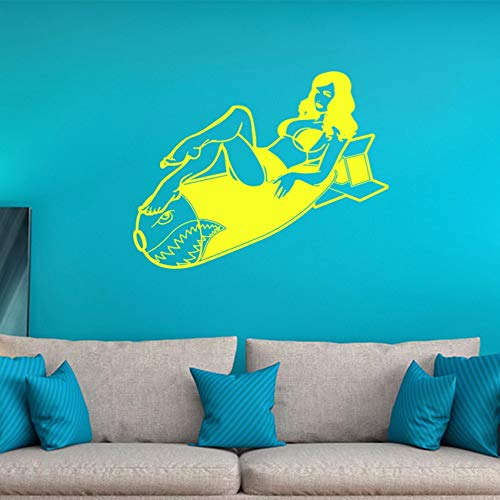 Pbldb 60X45Cm Personality Pin Up Vintage Burlesque Girl Decal Wall Sticker Cool Graphics Yellow]()