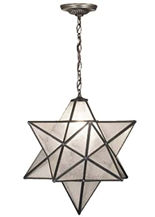 Meyda Tiffany 21211 Moravian Star Pendant, Mahogany Bronze Finish with Clear Seedy Art