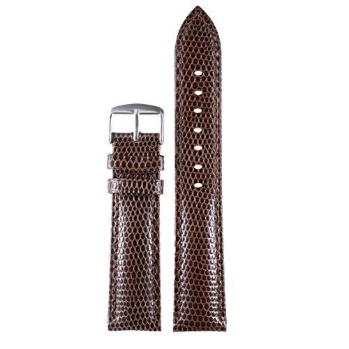 18mm Brown Luxury Unique Watch Bands Genuine Calfskin Leather Wristbands Lizard Pattern Light Padding