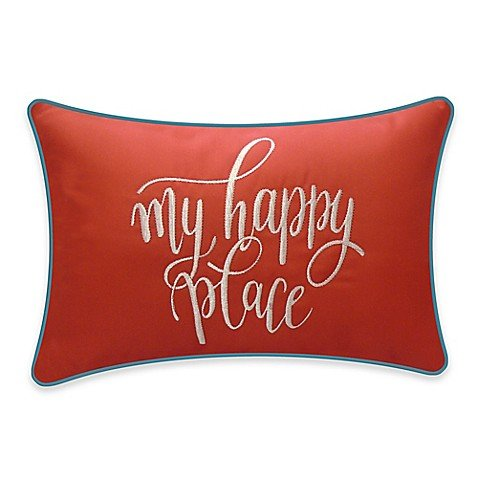 Destination Summer My Happy Place Outdoor Oblong Throw Pillow in Coral