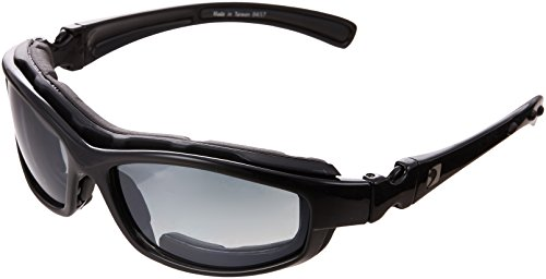Bobster BRH2001 Road Hog II Prescription Ready Sunglasses,Black Frame/4 Lenses (Dual Grade Reflective/Smoked/Amber and Clear),one size ()