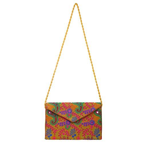 Evening Clutch Collection Multicolored Studio Yellow Fashion Ethnic purse Women's Envelope handbag Brazeal Orange Embroidered 8TqYw15