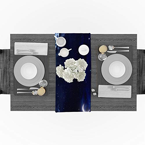 Blue Moon Cotton Shorts - Prime Leader Cotton Linen Table Runner The Night Sky Blue Fantasy Starry Moon Cotton Linen Table Runner Party Supplies Home Decorations for Kitchen Dining Room Wedding & Everyday Use 13 x 90 inch