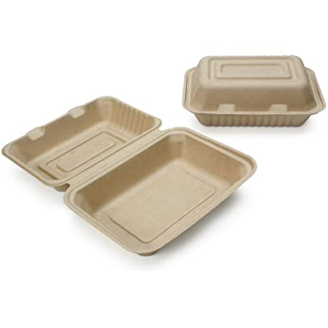 Earth S Natural Alternative Wheat Straw Fiber Bagasse Sugarcane Tree Free 9 X 6 X 3 Clam Shell Container 500 Case