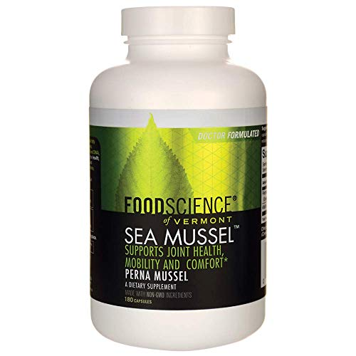 FoodScience of Vermont Sea Mussel, Green-Lipped Mussel Joint Supplement Capsules, 180 Count (Best Green Lipped Mussel Supplement)
