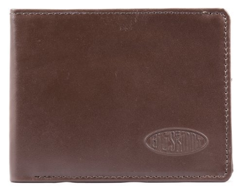 Big Skinny Men's Slimline Leather Bi-Fold Slim Wallet, Holds Up to 25 Cards, Brown