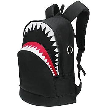 3D Shark Canvas Backpack Kids Book Bag School Backpack for Children Toddler Girls Boys (Black)