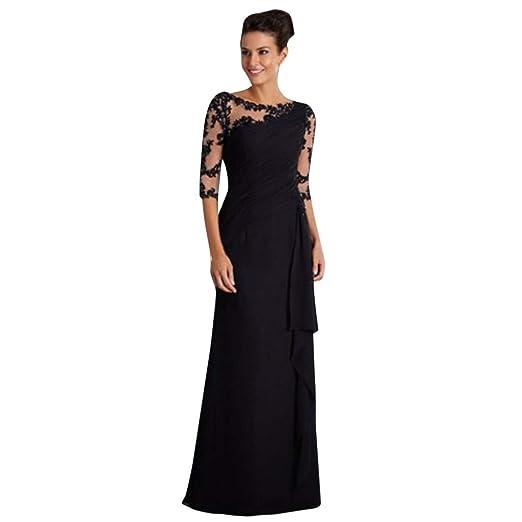 ed044545d555 iLUGU Women Sleeveless V Neck Wedding Dress Elegant Party Evening Slim Maxi  Dresses Black