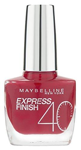 Maybelline New York Make-Up Nailpolish Express Finish Nagellack Cherry / Ultra schnelltrocknender Farblack in sattem Kirschrot, 1 x 10 ml