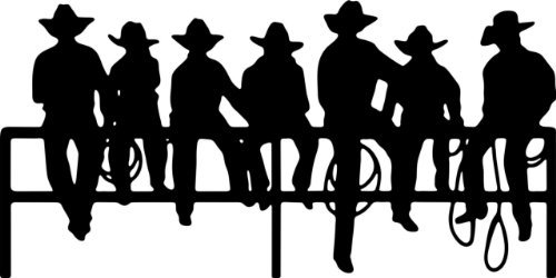 Cowboy Wallpaper - Cowboys On A Fence Wall Picture Art Decoration – Removable Animal Bedroom Stick On Print Sticker - Vinyl Wall Decal Size : 14 Inches X 28 Inches - 22 Colors Available