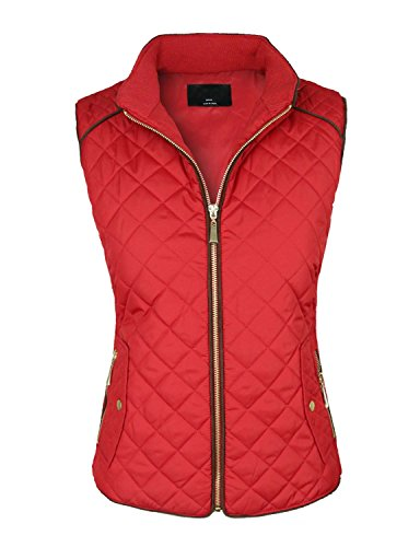 makeitmint Women's Basic Solid Quilted Padding Jacket Vest w/ Pockets 2XL YJV0002_Red