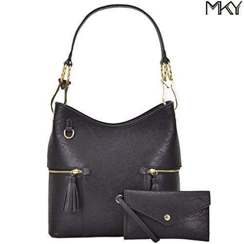 Classic Large Hobo Shoulder Bag Women Tote Purse Ladies Handbag PU Leather Big Snap Hook Black