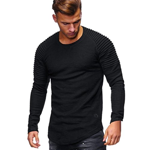 Realdo Long Sleeve T-Shirt for Men, Fashion Casual Slim Solid Crewneck Pleated Pullover Shirt (Solid Crewneck T-shirt)
