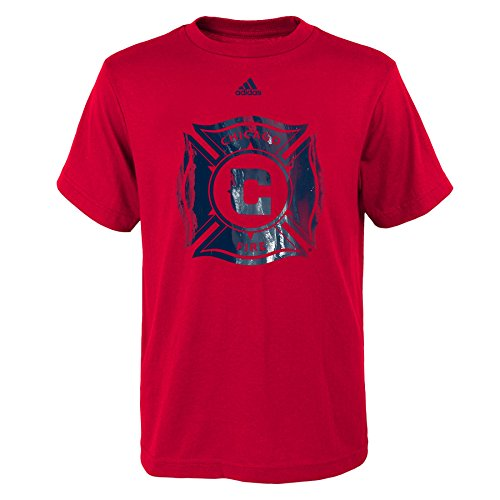 MLS Chicago Fire Boys -War Paint Logo Short Sleeve Tee, Red, Small (Fire Youth T-shirt)