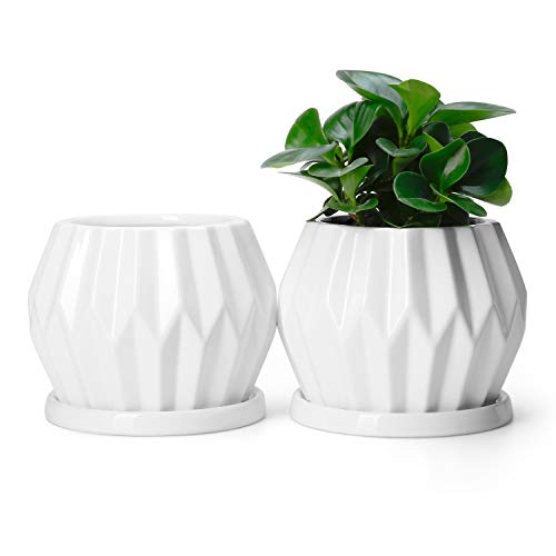 POTEY Ceramic Plant Flower Pots Planters - 4.3 Inch Medium Midcentury Planter with Drain Hole, Saucer Deco Indoor - Set of 2, Pure White