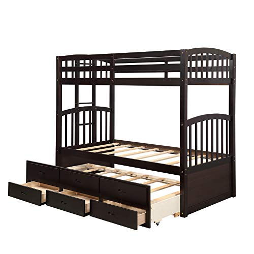 Hooseng Twin Trundle for Kids, Storage Wood Bunk Bed with Stairs, Espresso Drawers