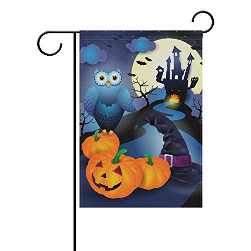 SINOVAL Halloween Background in Blue Double-Sided Polyester Garden Home Funky Flag Banner for Party Home Outdoor Decor 12x18 inch