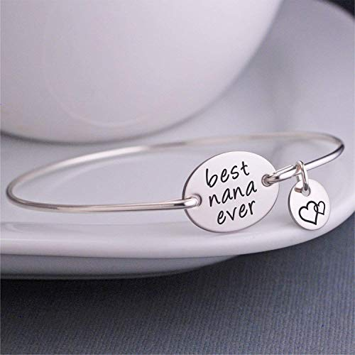Best Nana Ever Bangle Bracelet Silver Jewelry Gift, Mother's Day Gift for Nana
