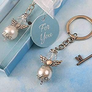 Elegant Angel Themed Pearl and Crystal Key Chain with Silver Accent Angel Wings (50) ()
