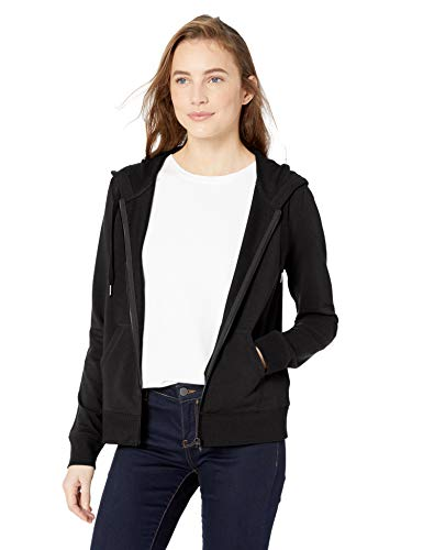 Amazon Brand - Daily Ritual Women's Terry Cotton and Modal Full-Zip Hooded Sweatshirt, Black, Large (Knit Hoodies For Women)