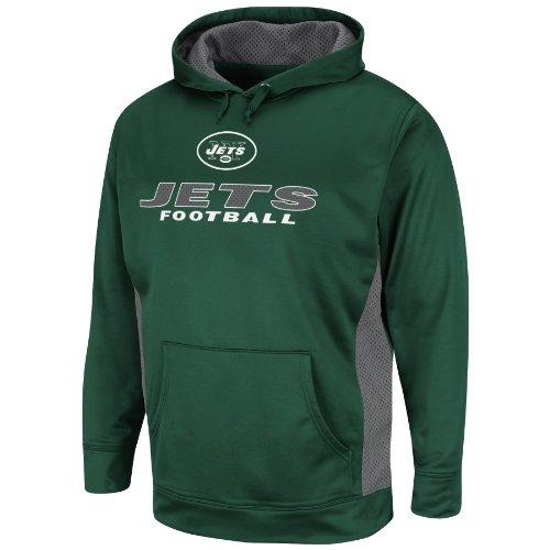NFL New York Jets Men's Gridiron V Fleece, Dark Green/Storm Gray, Small