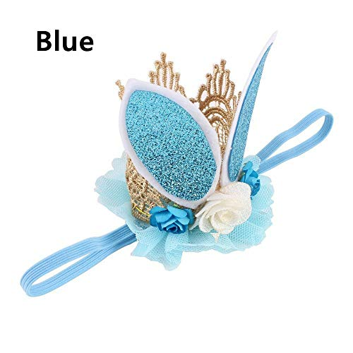 Glitter Lace Rabbit Bunny Ears Kids Baby Headband Hair Band Flower Crown (color - blue)