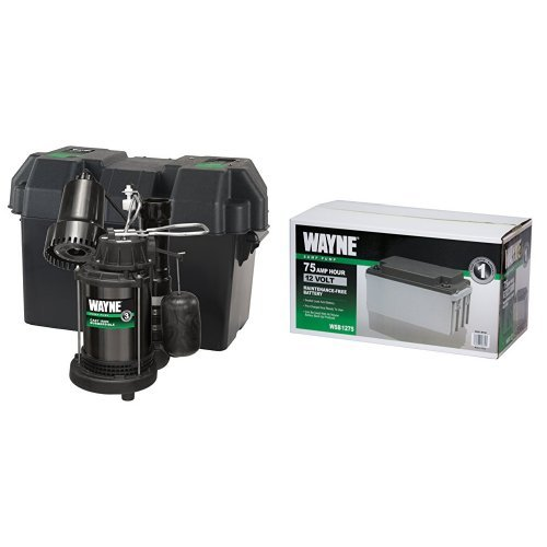 WAYNE WSS20V Pre-Assembled 120 V/12V 1/3 HP Primary and Battery Backup Combination Sump Pump System with WSB1275 75Ah AGM Sealed Lead Acid Battery by