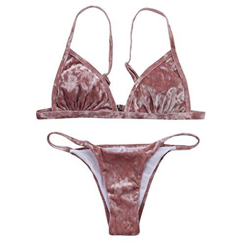 CSSD Women Sexy {Velvet} Bikini Set Swimming Costumes {Two Piece} Swimsuit {Push-up} Swimwear (M, Pink) For Sale