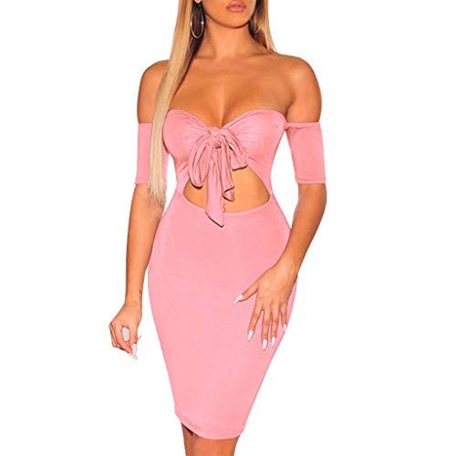 55e0b711010e8 Fanteecy Women Sexy V Neck Bodycon Dress Off Shoulder Bowknot Tube Tops Dress  Short Sleeve Slim