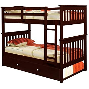 Amazon.com: Bunk Bed Twin over Twin Mission style in Cappucino ...