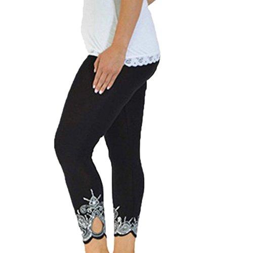 ZOMUSA Clearance Sales, Women Mid Waist Running Sport Workout Yoga Pants Fitness Elastic Leggings (XXL, Black)