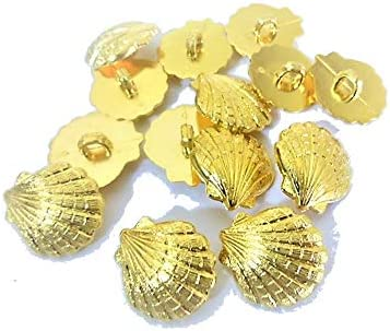 13mm 金色 貝殻風 ABS プラスチック系 メタル ボタン 30個入り