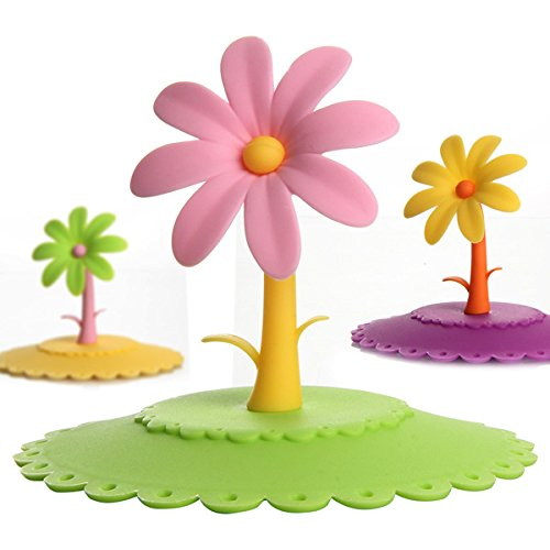 Colorful Flower Silicone Dustproof Cup Lid Leakproof Cup Cover (Random: Color)