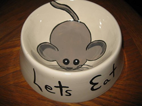 Hand Painted Ceramic Cat bowl with mouse