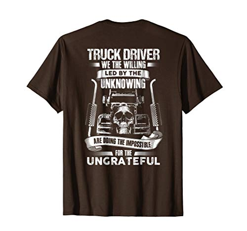 un Truckers Trucking Skull T-Shirt Backside XL Brown ()