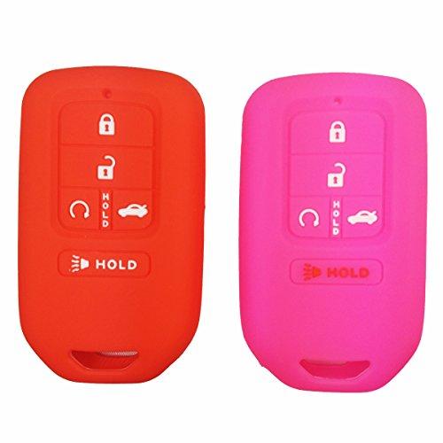 2Pcs Coolbestda Silicone Key Fob Remote Keyless Protector Holder Jacket for A2C81642600 2018 2017 2016 2015 Honda Accord Civic CR-V CRV Pilot EX EX-L Touring (Pilot Holder)