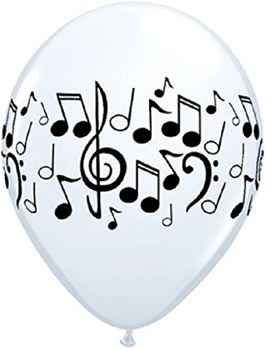 Qualatex Music Notes Balloons 50 Pack 11 Inch Latex White -