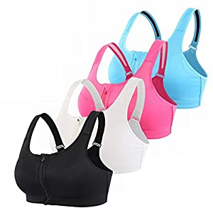 EMY Front Close Racerback Sports Bra 4 Pack High Impact Adjustable Strap For Running Yoga Gym (L)
