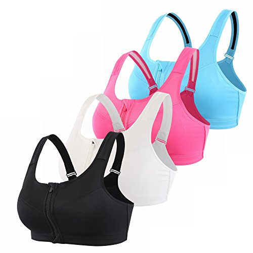 EMY Front Close Racerback Sports Bra 4 Pack High Impact Adjustable Strap for Running Jogging Yoga Crossfit