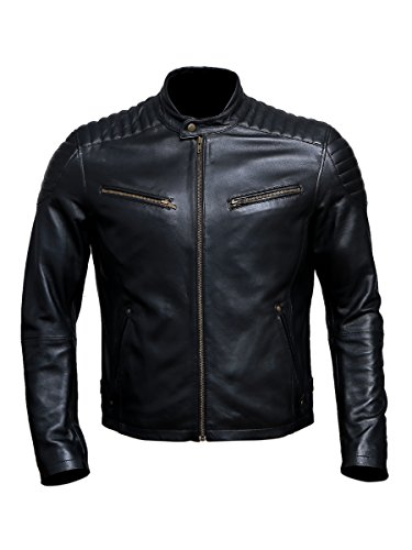 Artistry Leather Luxury Premium Black Handmade Genuine Leather Jacket For Bikers, Black, Medium (Body chest 40