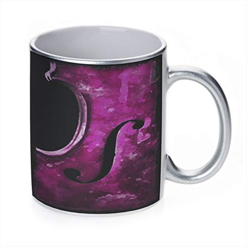 Band Wood Violin Space Case by New Vibe Decorative Art - Sparkle Silver Ceramic Tea Cup Coffee Mug